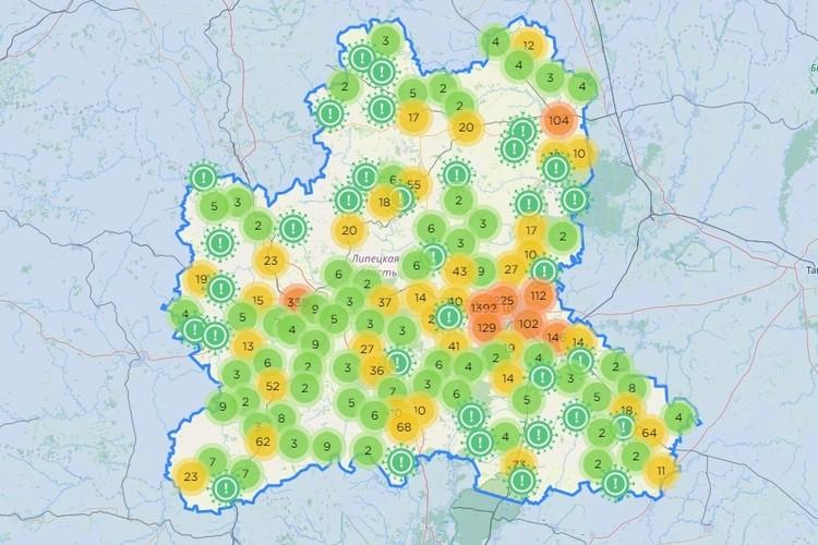Как распределены очаги заражения коронавирусом в Липецкой области