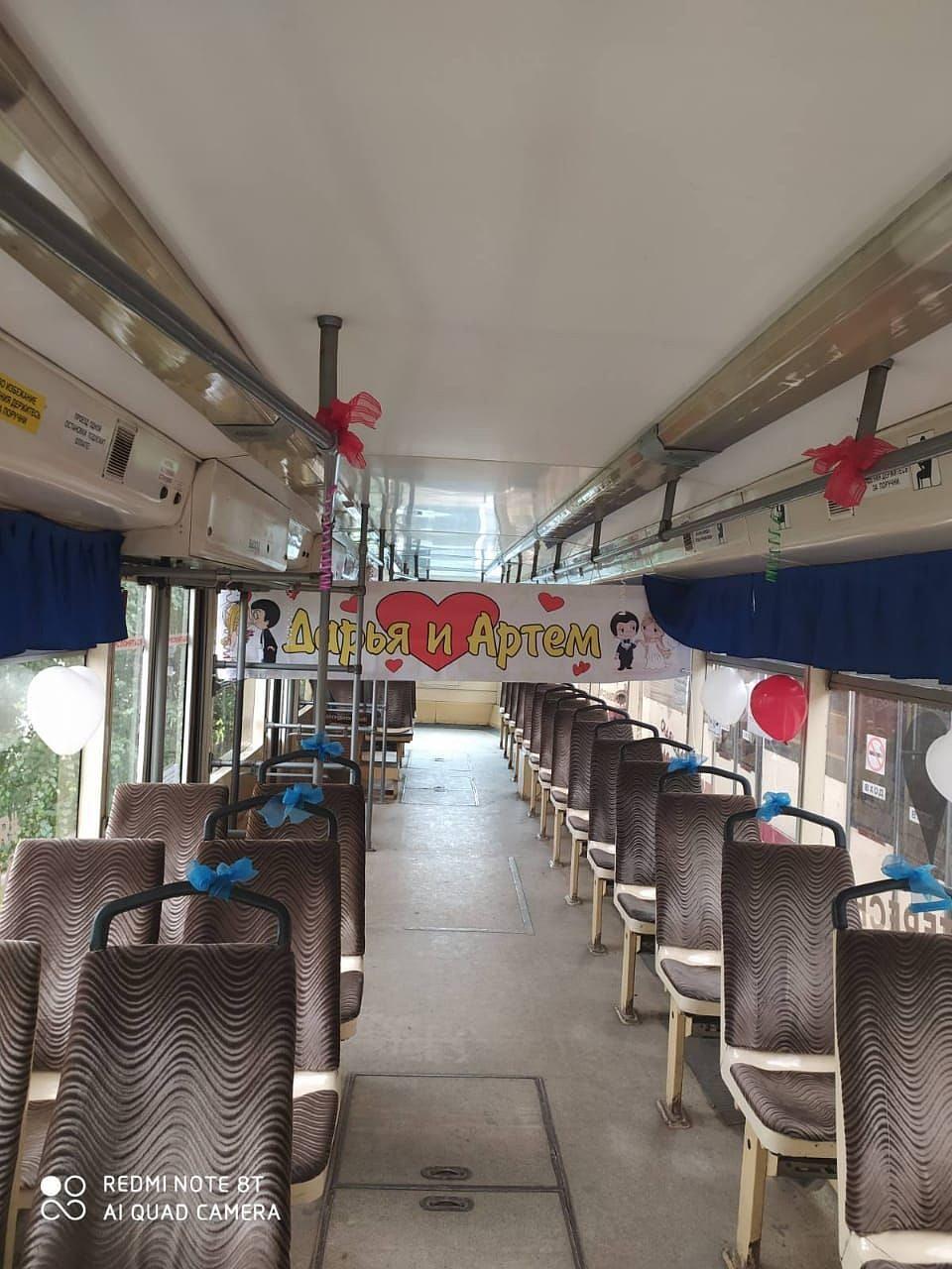 Вот так выглядит свадебный трамвай изнутри. Фото: Читатель КП-Челябиск