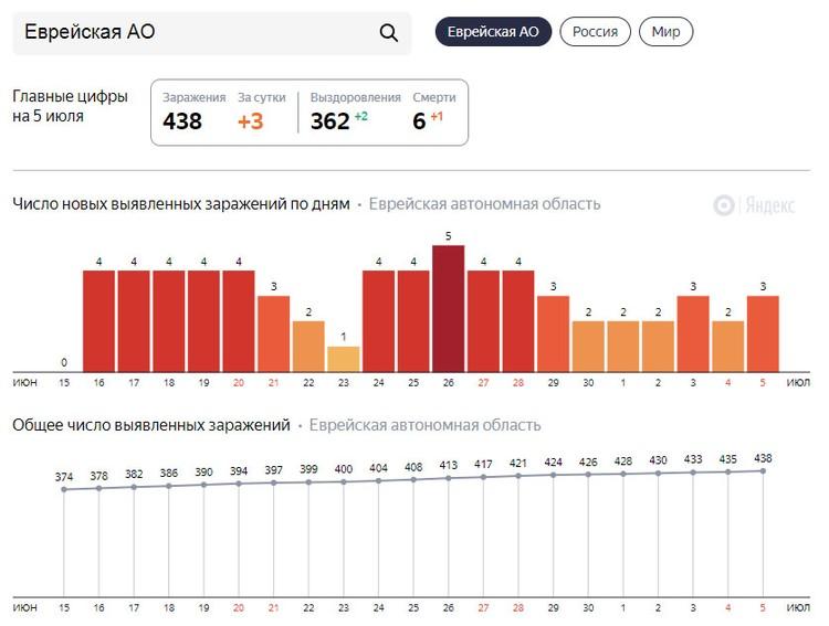 Статистика по заболеваемости в ЕАО ФОТО: Скриншот Яндекс.Коронавирус