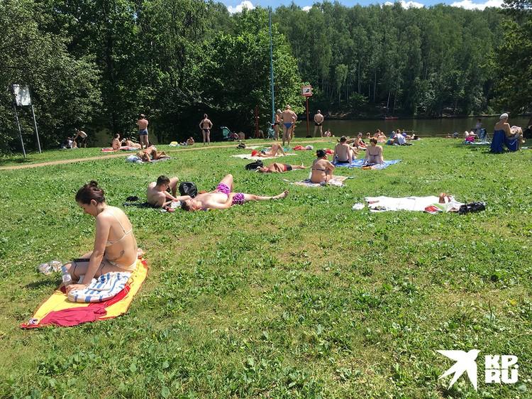 На берегу отдыхающие фактически нарушителями не являются, потому как парк открыт официально. А вот купание в Москве пока что запрещено.