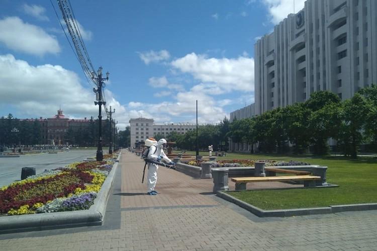 Главную площадь города и еще несколько общественных мест закрыли на санобработку