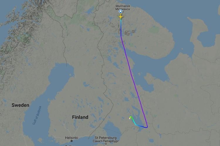 Недолет воздушного судна четко виден по картам. Фото: flightradar24.com
