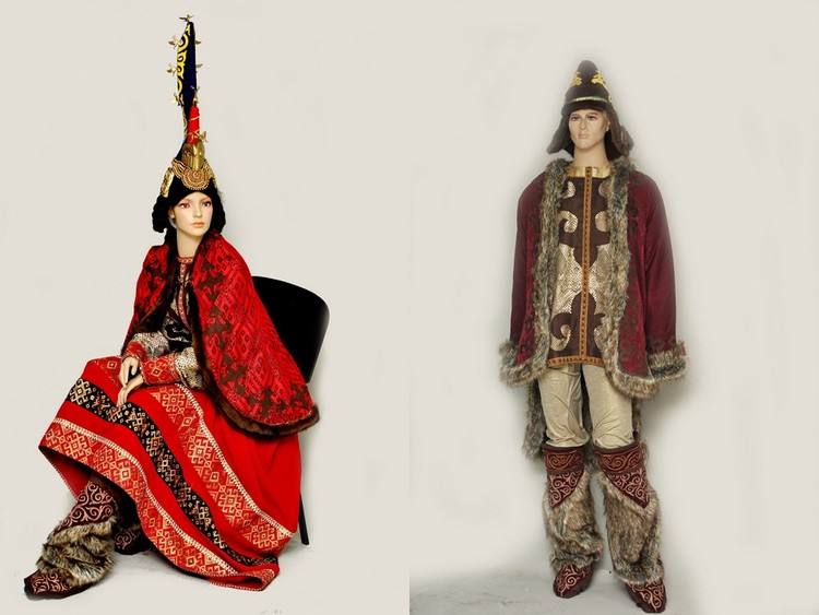 Скифские царь и царица, реконструкция. Так могла выглядеть одежда знатных скифов, живших на территории современной Тувы. Фото: Национальный музей Тувы