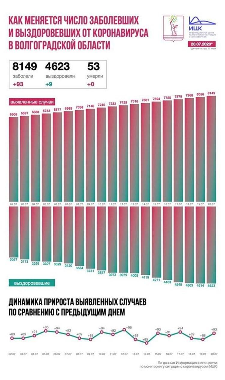 Статистка распространения коронавиурса в области. Фото: ИЦК