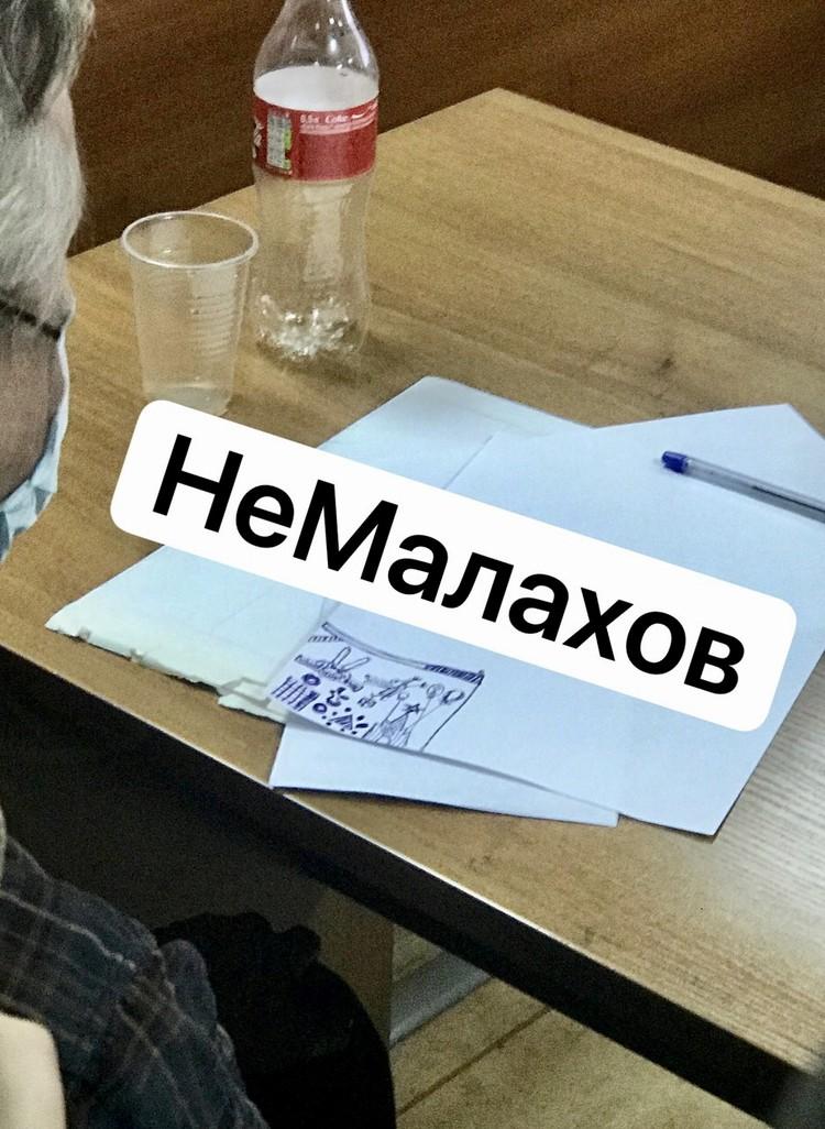 """За многочасовое заседание Ефремов сделал множество рисунков, но блогеры смогли разглядеть лишь один. Фото: группа в соцсетях """"НеМалахов""""."""