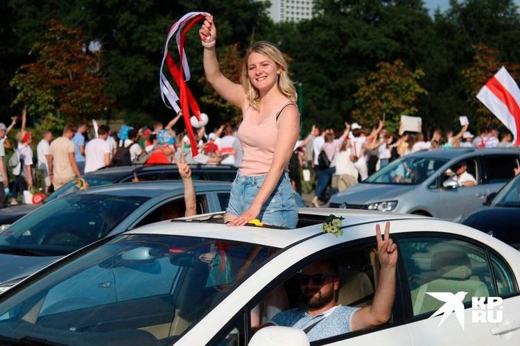 Минчане на рекордном мирном митинге 16 августа 2020 г.