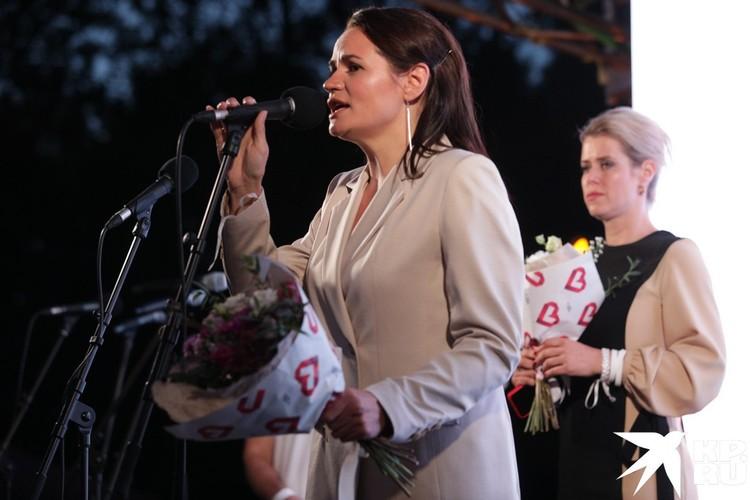 Светлана Тихановская на предвыборном митинге