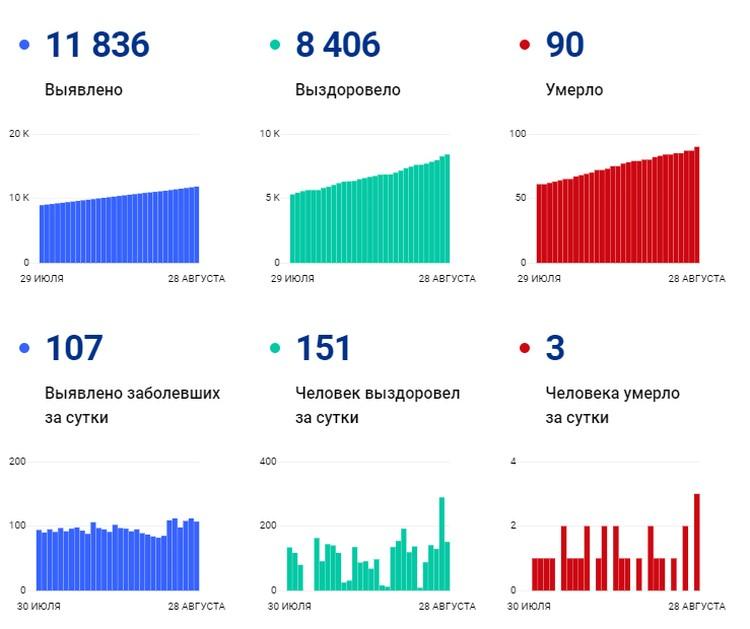 Данные на 28 августа по Волгоградской области. Инфографика: стопкоронавирус.рф