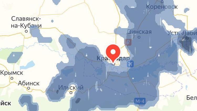 Ливни накрыли Краснодар. Фото: Яндекс погода