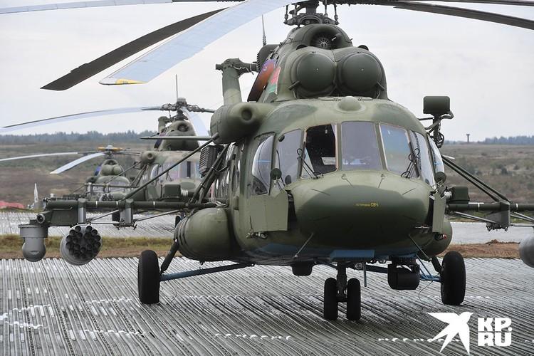 Вертолет МИ-8 во время совместных стратегических учений России и Белоруссии `Запад-2017` на Борисовском полигоне.