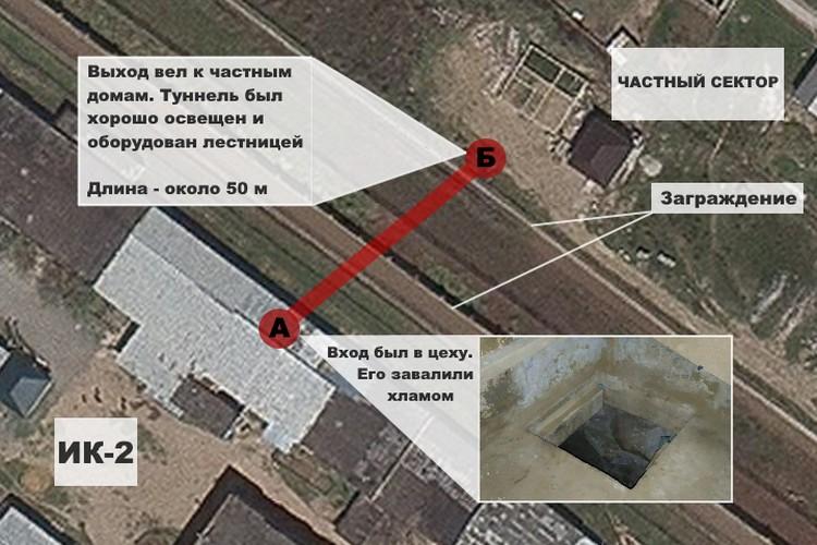 Схема побега зэков из ИК-2 в Дагестане