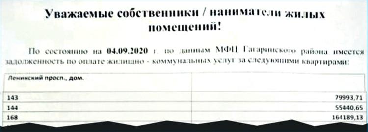 Овсиенко принадлежат квартиры № 143 и 144. Общий долг по ним - около 135 тыс. рублей.