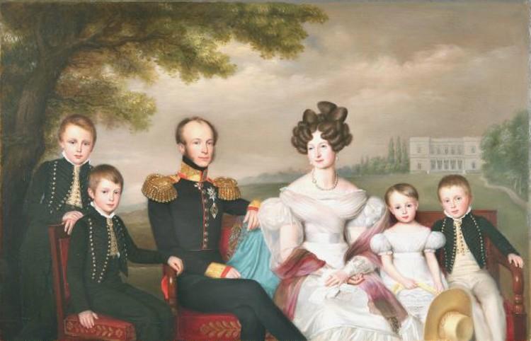 Король Нидерландов Виллем II , королева Анна и их дети. Картина Яна Баптиста ван дер Хюлста.