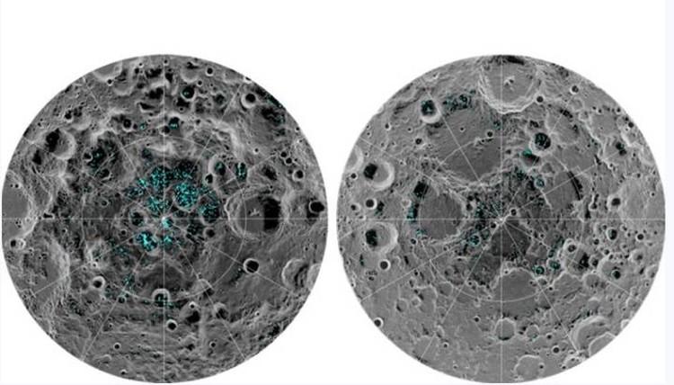 Расположение замерзших водоемов на Южном (слева) и Северном полюсах Луны.