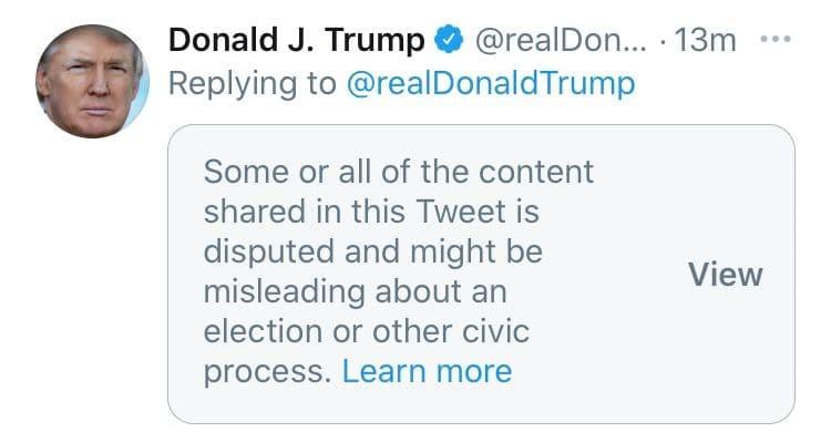 "Твиттер пометил пост Трампа как ""сомнительную"" публикацию"