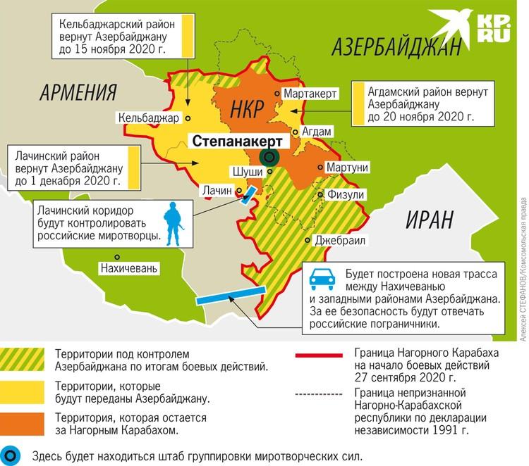 Как изменится карта Армении и Азербайджана после прекращения войны.