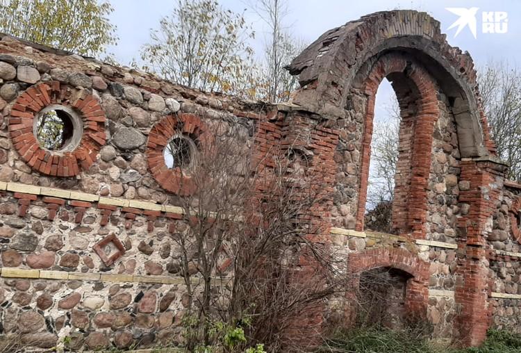 Напротив усадьбы сохранились руины племенного завода