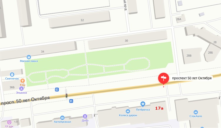 Переход на проспекте 50 лет Октября, 17 «а». Графика: yandex.ru/maps