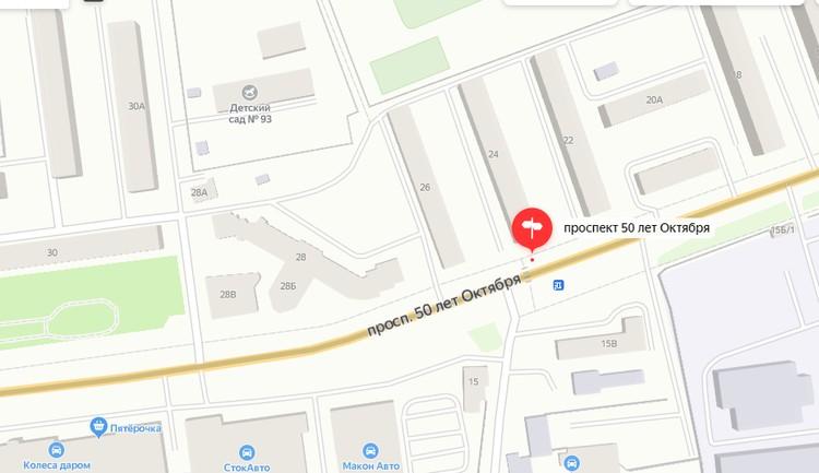 Переход на проспекте 50 лет Октября, 24. Графика: yandex.ru/maps