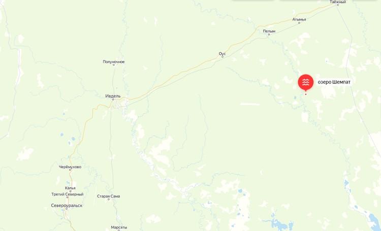 Последний раз туристы выходили на связь с озера Шемпат в Пелыме Фото: Яндекс.Карты