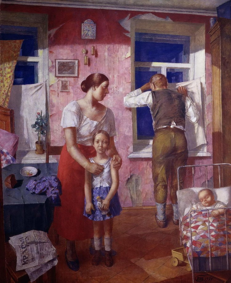 """На картине спиной у окна изображен отец Татьяны. Актриса считает работу пророческой. До 1937 года было далеко, но художник уже тогда изобразил страх перед """"черными воронками"""" и будущее ее отца, который позже был сослан на 15 лет."""