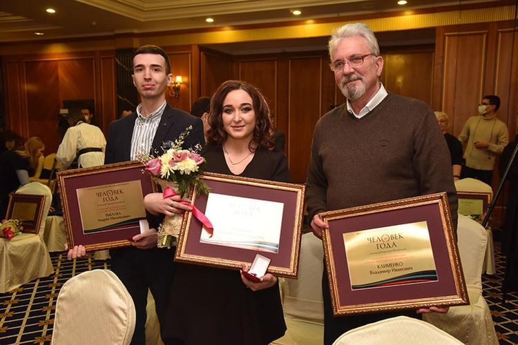 Победители конкурса Андрей Рыбалка (слева), Валерия Павлова и Владимир Клименко. Фото: denis-pushilin.ru