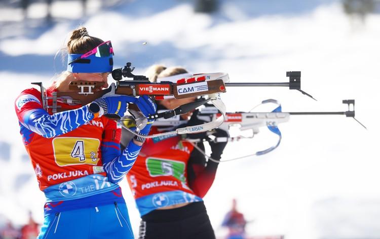 Светлана Миронова во время женской эстафеты 4х6 км