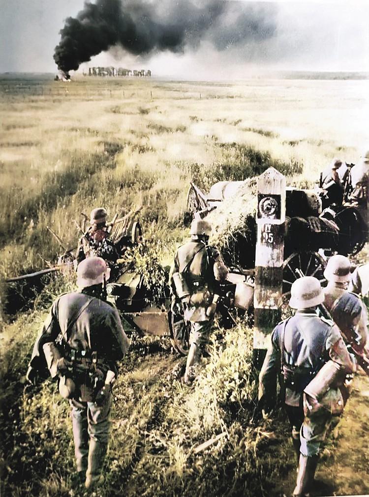 22 июня 1941 года, гитлеровцы переходят нашу границу. Несмотря на ожесточенное сопротивление, на ряде направлений они смогли пройти до 80 километров. Фото: Johannes Hаhle