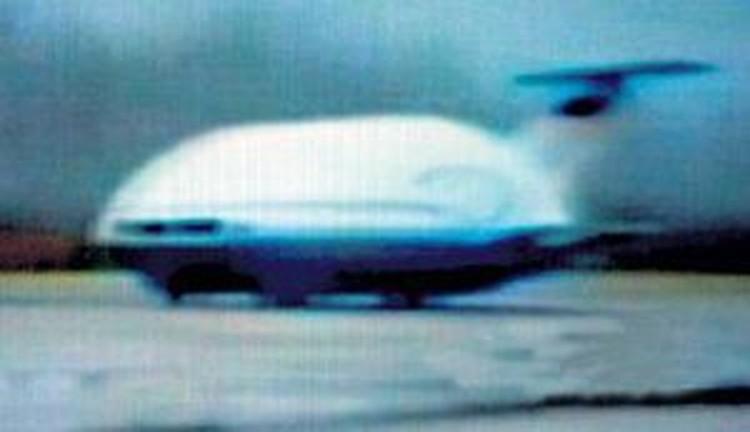 Одна из отечественных «летающих тарелок» во время заводских испытаний.