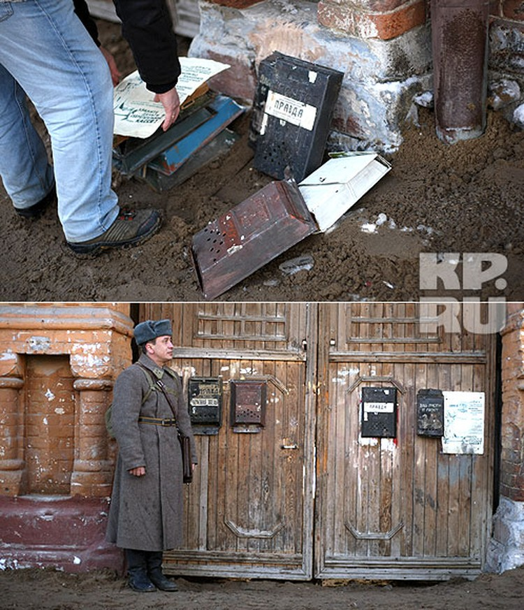 Чтобы старый самарский дом выглядел, как в далеком 1942-м, на него повесили почтовые ящики советских времен