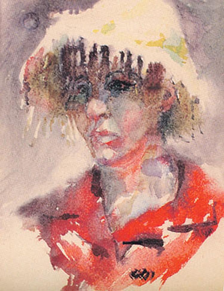 Портрет Зои Богуславской. Акварель Андрея Вознесенского. 1966 год.