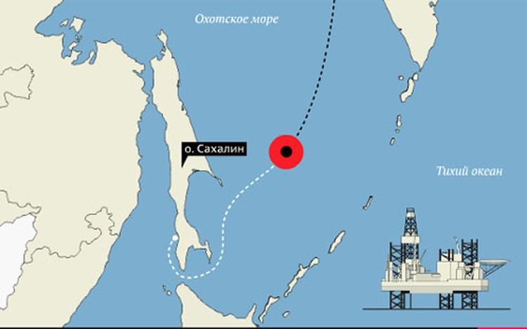 """Маршрут буровой платформы """"Кольская"""". Трагедия произошла в 200 км от побережья Сахалина."""