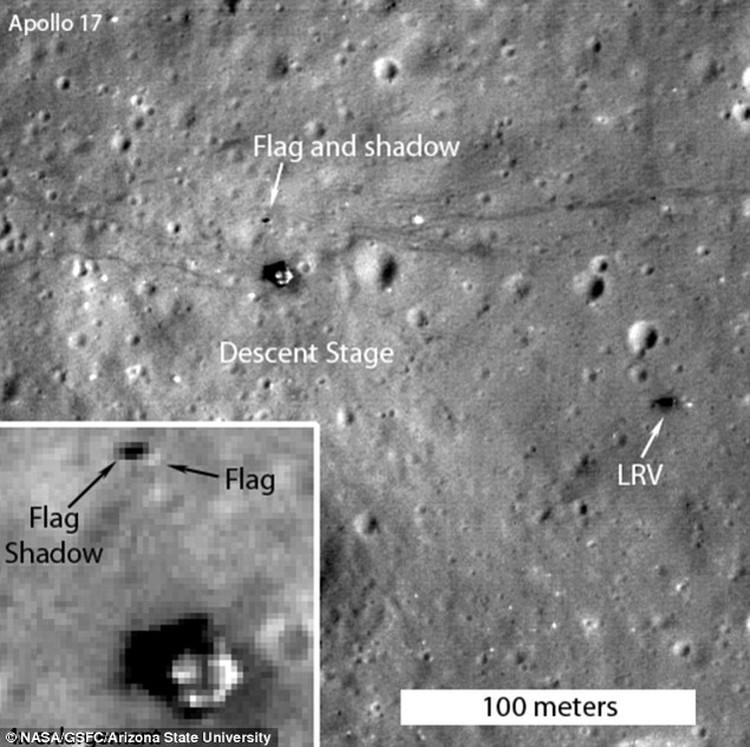 Флаг на месте посадки Аполлона-17: обнаружен по тени на поверхности