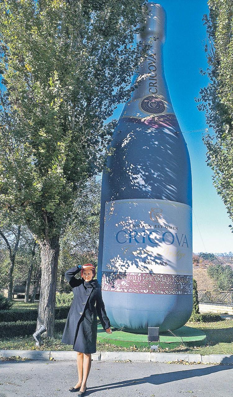 Но самый известный символ республики - конечно, бутылка молдавского вина (слева от нее символ «Комсомолки» Дарья Асламова).