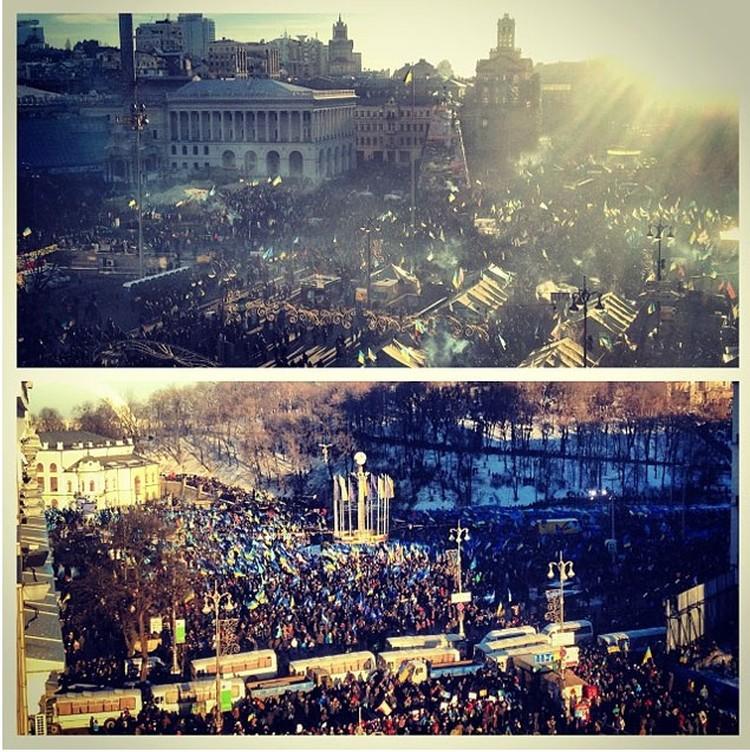 Два митинга в центре Киева разделила колонна автобусов и «Беркут»