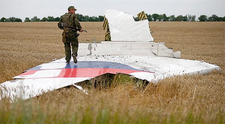 17 июля 2014 г., боец ДНР осматривает обломки рухнувшего Боинга.
