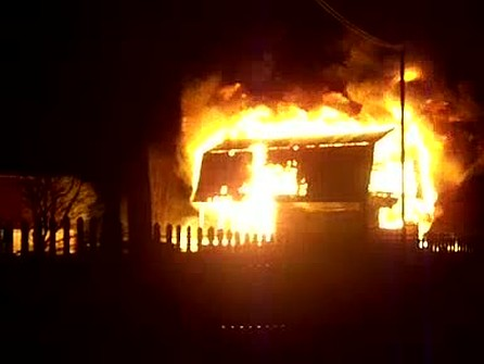 Пожар в селе спорном